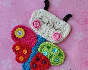 Crochet rainbow butterfly applique - pattern, DIY