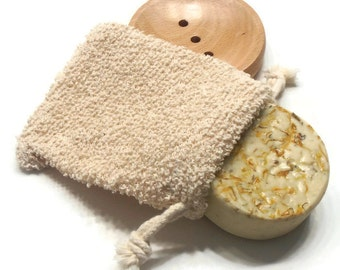 Gift Set - Lemongrass Soap with Boucle Soap Sack - Shea Butter Handmade Soap with Soothing Calendula - VEGAN