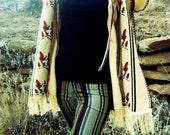 Little Wing Vest *1970's Knit Bird Poncho Vest with Fringe