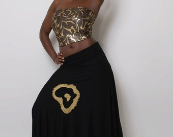 BLACK/GOLD africa skirt