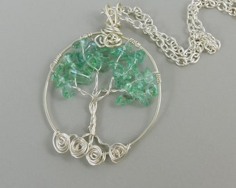 Teal Glass Tree of Life Necklace, Wire Wrapped Tree Jewelry, Glass Necklace, Nature Jewelry