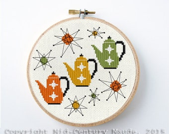 Tea Pot Cross Stitch Pattern Retro Design Instant Download Needlepoint Mid Century Modern atomic era style