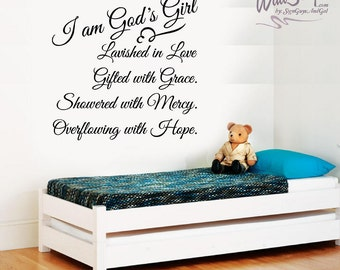 I am God's Girl wall decal. Nursery or Girl room decal