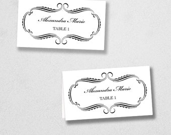 Printable Place Card Template - INSTANT DOWNLOAD - Escort Card - For Word and Pages - Mac and PC - Flat or Folded - Calligraphy Frame