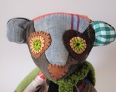 Fabric jointed bear OOAK patchwork: Once upon a time