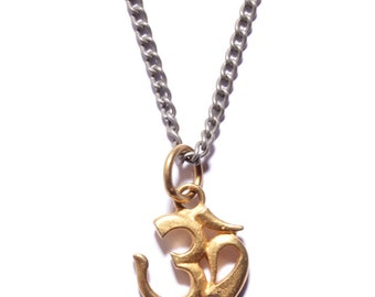 Om Necklace - Om Necklace for Men Yoga necklace jewelry for men and women - Gold Om pendant silver chain necklace for men