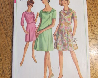 """1960s Mad Men MOD A-Line Dress with Hidden Pleats & Charming Bow - Size 16 (Bust 36"""") - VINTAGE Sewing Pattern Simplicity 7030"""