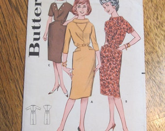 Mid-Century UNIQUE Sheath DRESS with Cowl Collar - Size 12 - VINTAGE Sewing Pattern Butterick 9538
