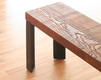 urban loft bench - from reclaimed roughsawn old growth wood and industrial steel angle - modern industrial, parsons style