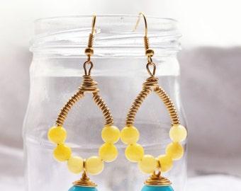 Yellow with Sky Blue Semi-Stone Drop Earrings (E638)