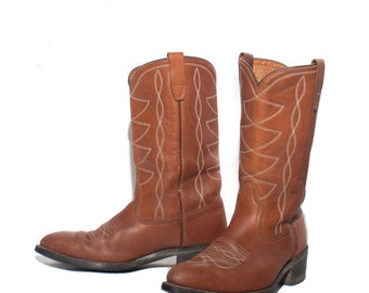 10.5 D | Western Ranch Boots in Brown Leather with Goodyear Oil-Resistant Soles