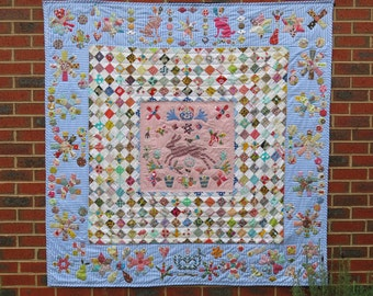 Out of the Blue, Margaret Sampson George Exhibition raffle quilt