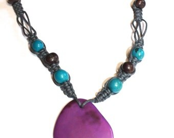 ON SALE: Tagua-Nut Pendant and Acai Seed Necklace - Vegetable Ivory, Mother's day