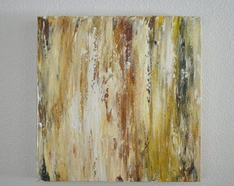 Two art abstract paintings in mustard, yellow, white, charcoal, espresso, burnt orange and gold