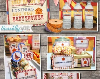 Vintage Circus Baby Shower Collection - INSTANT DOWNLOAD - Editable & Printable Party Decorations, Decor, Invite, Invitation, Bunting