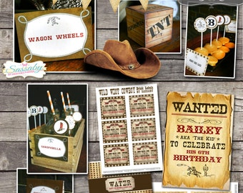 Wild West Cowboy Party Collection - INSTANT DOWNLOAD - Editable & Printable Birthday Party Decorations by Sassaby