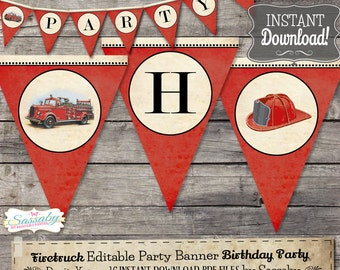 Vintage Firetruck Banner - INSTANT DOWNLOAD - Editable & Printable Birthday Party Decorations, Decor, Bunting by Sassaby Parties
