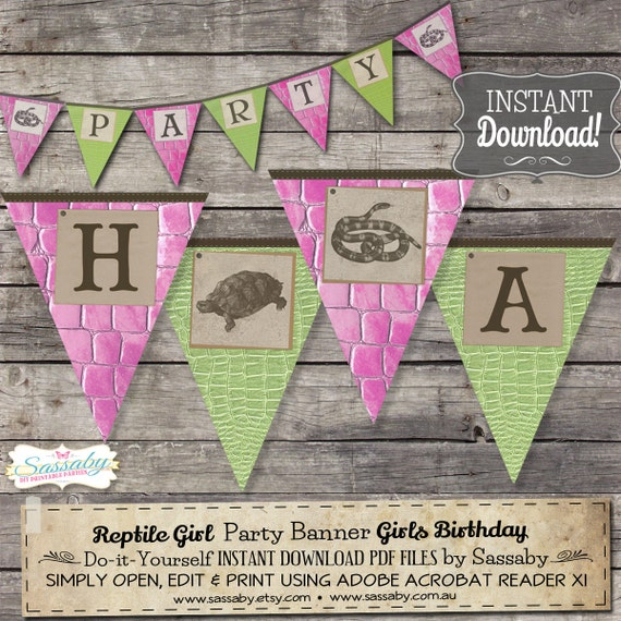 Reptile Girl Party Banner