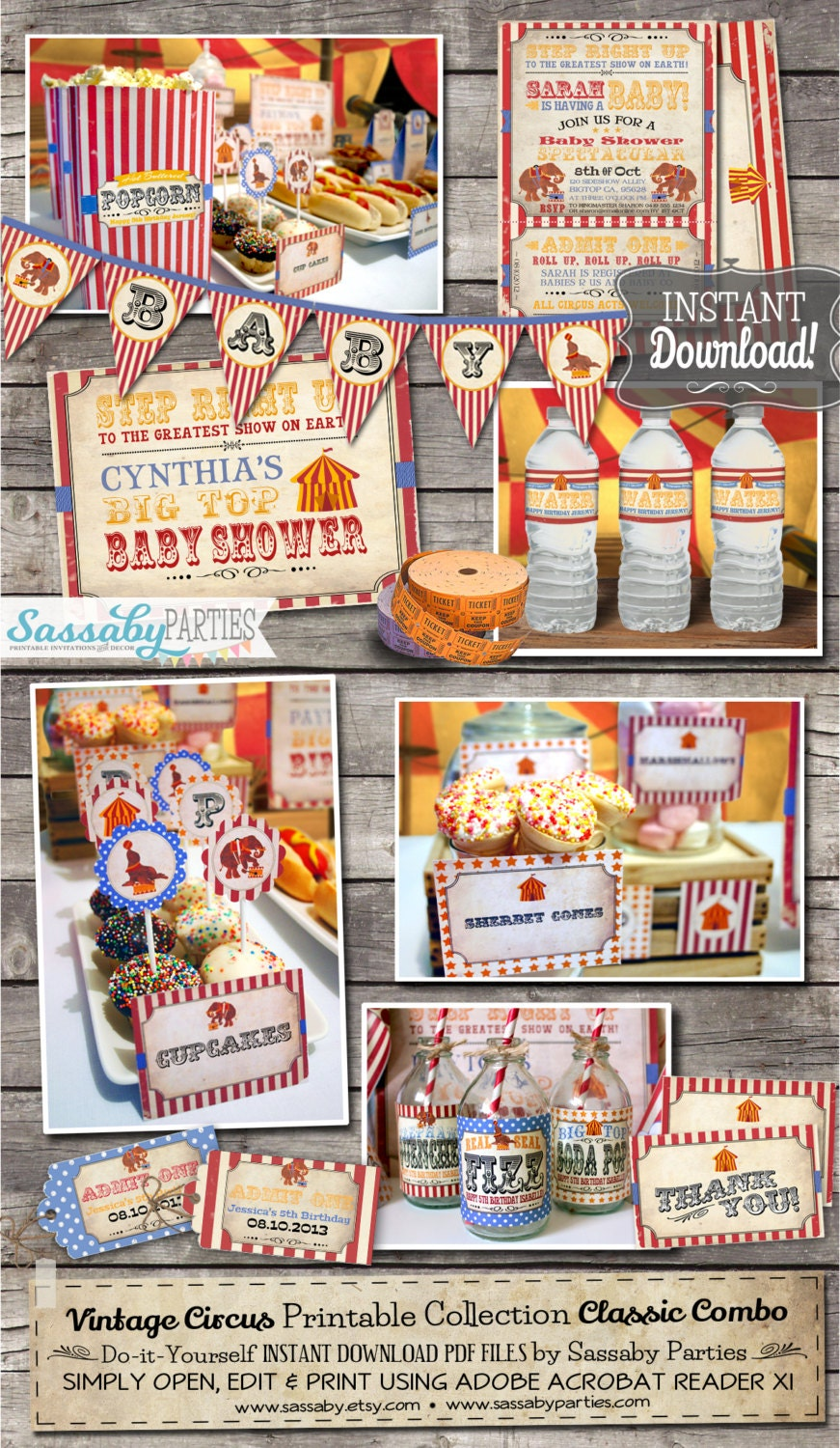 vintage circus baby shower collection instant download