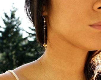 Shark Tooth Earrings - Freshwater Pearls & Gold Vermeil Shark's Teeth - 14k Gold Fill