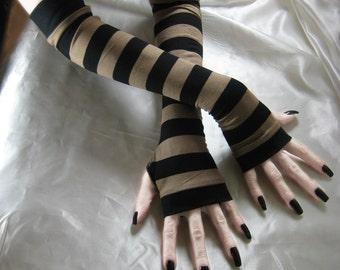 Striped Arm Warmers Fingerless gloves Gothic Glove armwarmers - Bistre - Goth Steampunk Belly Dance Stripes Black Brown Beige gypsy nior emo