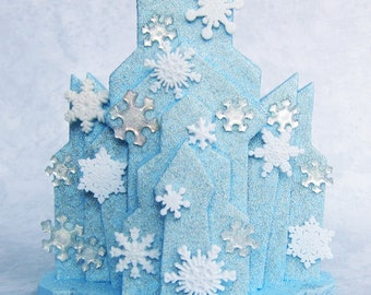 Ice Castle Blue Snowflakes  and Rhinestones Cake Topper