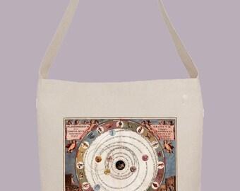 Ornate Vintage Zodiac Astrology Star Chart - Hobo Sling Tote, 14.5x14x3, Crossbody Strap, Magnetic Closure, Inside pocket
