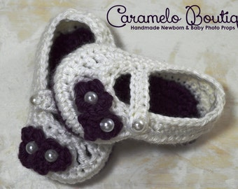 Baby Girl Mary Janes Shoes with Pearls-Baby Girl Slippers-Baby Girl Booties Loafers-Baby Girl Photo Props-Newborn Shoes-Newborn Booties