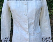 LULU BRAVO linen Jacket top Size 4 button down blouse rope cut outs white cream