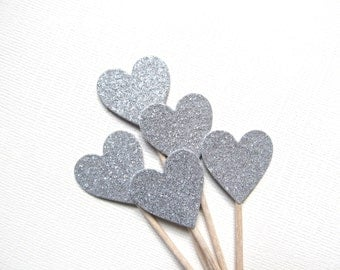 Silver Glitter Heart Cupcake Toppers, Party Decor, Double-Sided, Weddings, Showers, Set of 15