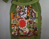 1960's Heavy Cotton Terry Cloth Robe // HILASAL // Vivid Folk Art Design // Lap Front // Self Tie