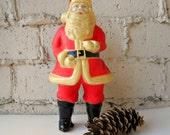Vintage Santa Figure, Plastic Standing Santa Claus, Holiday Santa, Christmas Decor