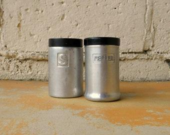 Vintage Salt and Pepper Shakers, Aluminum and Black Lid 1950s Kitchen Decor