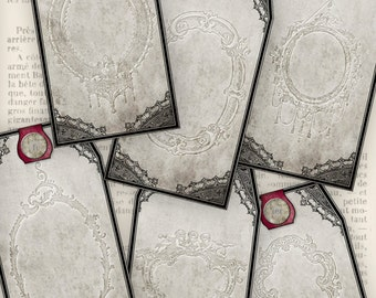 Gothic Lace Tags - printable / add your own text - VDTAGO0946