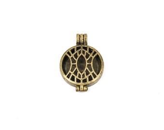 "2 Bronze Metal Filigree Open LOCKET Perfume Diffuser Pendants, Art Deco Design,  1-1/8"" diameter, chb0321"