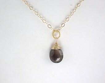 Smokey quartz  Pendant, Gemstone Necklace, pendant charm,  14 k gold filled wire wrapped briolette teardrop