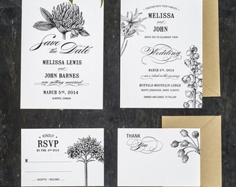 Botanic Flower Wedding Invitations Printable Template Suite of 4