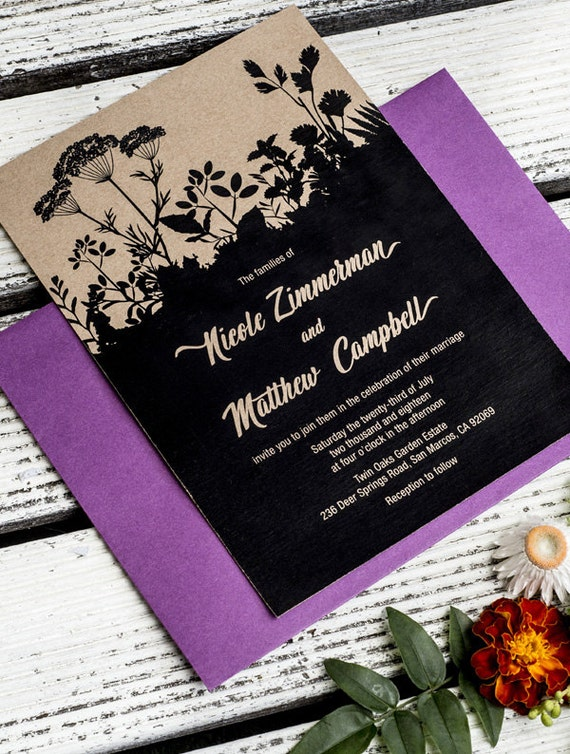 Rustic Nature Printable Wedding Invitation Template