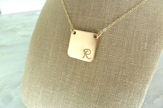 Script Initial Necklace | Sterling Silver or Gold Fill | Rounded Square | Initial Jewelry | Custom Initial Necklace | Personalized Jewelry
