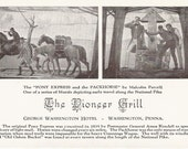 The Pony Express and the Packhorse Malcolm Parcell Murals Depicting Early Travel The National Pike Vintage Postcard George Washington Hotel