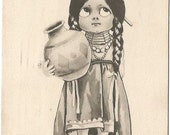 Maiden American Indian vintage postcard Artist Signed Wall 1911