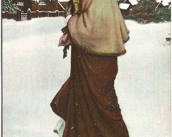 Priscilla Beautiful Edwardian Woman walking with books through snow to log cabin Vintage Postcard 1910's