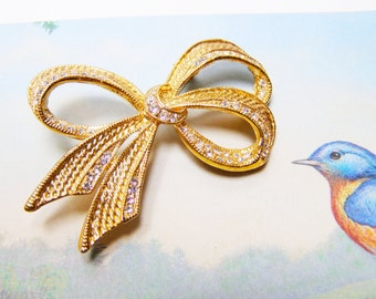 Vintage Bow Brooch Signed ROMAN
