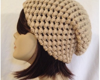 Crochet Hat Pattern, Digital download crochet pattern,Puff Stitch Slouch, beanie, hat, cap, slouchy, Fit's Teens and adults