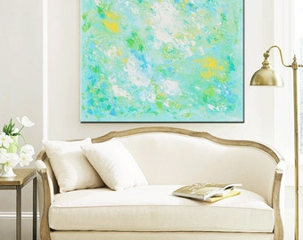 "GICLEE PRINT of Abstract Painting Minimalist LARGE Art Aqua Blue Home Wall Decor Modern Coastal Canvas Prints Beach Sizes to 60"" -Christine"