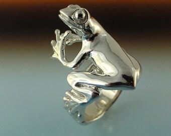 Peanut...Sterling Silver Tree Frog Ring, Frog Ring, Treefrog Ring, Tree Frog Ring, Silver Tree Frog Ring