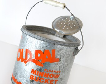 minnow bucket,mid century,floating,galvanized,old pal,still works,planter,rustic,industrial chic,repurpose,storage,vintage fishing equipment