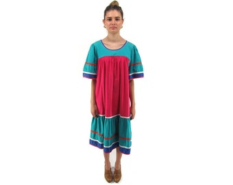 On Sale - Mexican 80s Tent Dress, Color-Block Dress, Oversized Dress, Boho Dress, Hippie, Mexican Boho Dress Δ size: md / lg
