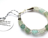 Genuine Bracelet Shades of Aqua and Sea foam green Sea Glass and Fine Silver Wire Knit