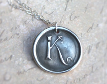 Letter K wax seal monogram charm necklace made from recycled silver
